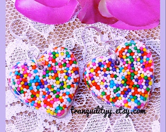 Sprinkle Heart Earrings, I Want Real Candy Sprinkles Heart Resin Earrings, Kawaii, Scene , By: Tranquilityy