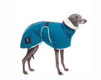 Italian greyhound winter coat made of high quality fabrics - blue color, small size