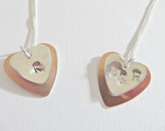 Silver heart pendant, Silver & copper heart pendant, Silver and copper necklace, Mixed metal pendant, Personalised pendants, Made in the UK