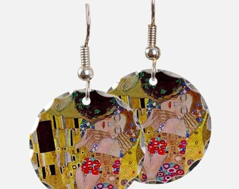 Hand painted wooden Earrings Gustav KLIMT-wood earrings hand Painted