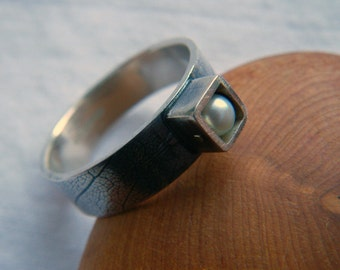 Silver and Vintage Square Pearl Manifesto Ring  by Cari-Jane Hakes, Hybrid Handmade