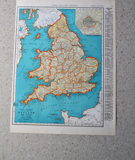 Vintage england map antique 1941 atlas map scotland on reverse vintage england map antique 1941 atlas map scotland on reverse wwii era wall decor art supply 14 x 11 colliers world atlas paper map gumiabroncs Image collections