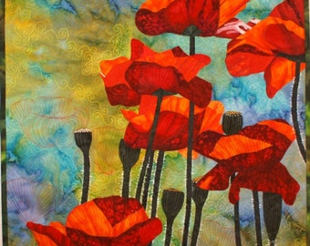 Red Poppies Art Quilt Pattern by Lenore Crawford