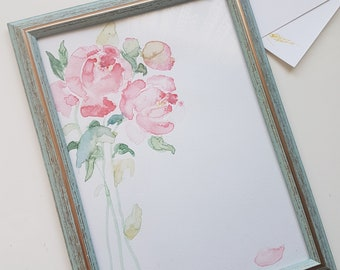 Personalized Watercolors, A4 Picture, Watercolors Peonies, Original Watercolors, Pink Flowers, Wedding, Birthday, Baby Shower, Present