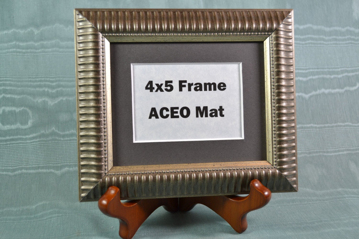 Picture Frame with Wooden Easel Stand - Silver Ribbed Frame 4x5 ...
