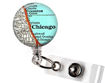Chicago Id Badge Holder, Nurse Gift, Custom Gift Idea, Name Badge Reel, Badge Id Reel, Identification, Personalized Gift, Id Tag