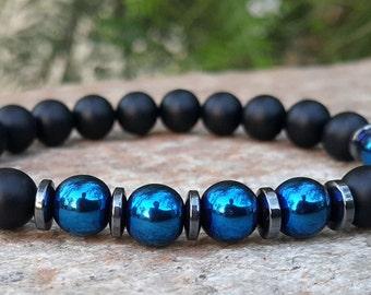 Men's Beaded Bracelet, Black Onyx Bracelet, Blue Hematite, Men Mala Bracelet, Mens Jewelry, Energy Bracelet, Man Gift, Mens Gift, For Him