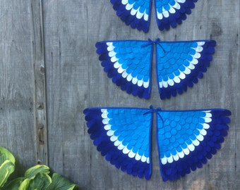 Costume Wings // Blue and White // Soft and flappable // Made in the USA