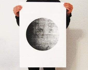 Screen-Print  Poster,50 x 70 poster, moon poster, moonart, minimalist, wall art, skandinavian art, hand made poster, screenprint, modern art