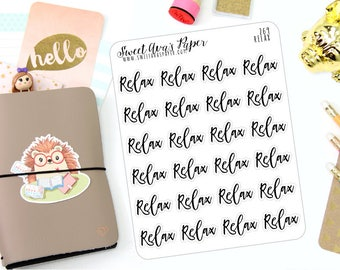 Relax Planner Stickers - Script Planner Stickers - Lettering Planner Stickers - Night In Planner Stickers - Fits Most Planners - 269