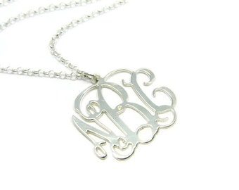 "Monogram Necklace. 1.5"" Personalized Initial necklace. Sterling silver 925 monogram necklace. Monogram jewelry. Initial jewelry. Gift ideas"