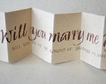 Proposal of Marriage, Will you marry me, Luxury card,  accordion card, concertina book, natural bagasse brown paper, uk, for men, for women