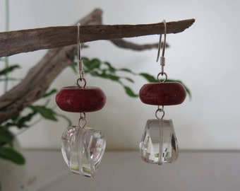 Faceted Clear quartz & Sponge Coral Earrings