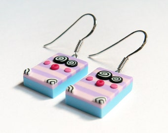 Little monsters earrings - pale pink and mauve stripes - sterling silver findings - polymer clay - OOAK