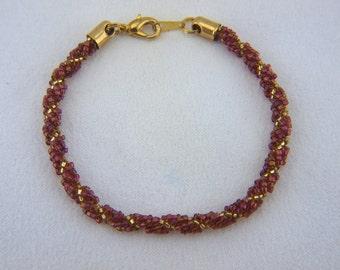Beadwoven  Red Spiral Rope Braclet - B004BFL