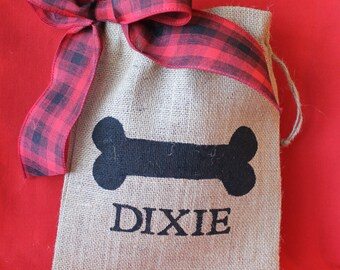 "Rustic Burlap Dog Stocking alternative. Personalized 8"" x 10"" burlap dog bag.  Christmas Dog. Dog Burlap stocking"