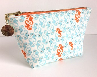 Seahorse Gifts - Seahores Bag - Makeup Bag - Beach Style Pouch - Make Up Bag - Cute Makeup Bag - Best Friend Gift - Makeup Brush Bag