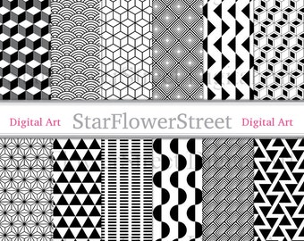 Geometric Digital Paper Black and White pattern for men design patterned printable instant download illusion background halloween