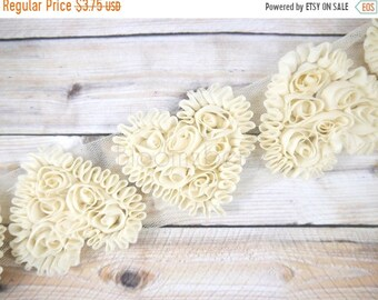 """ON SALE 20% OFF 3 pcs  3"""" Heart Shabby Rose Trim - Cream Color - No Frayed - Heart Appliques - Heart Chiffon Trim - Hair Accessories Supplie"""