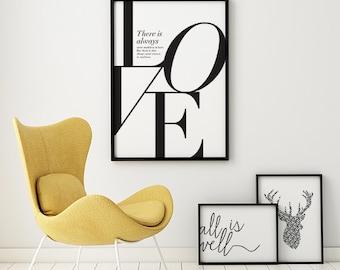 Nietzsche Quote, Literary Print, Love Quote Print, Romantic Art, Typography Poster, Wedding Gift, Love Print Wall Art, Large Quote Print