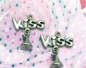 Kiss with Hanging Chocolate Kiss- 4 pieces-(Antique Pewter Silver Finish)