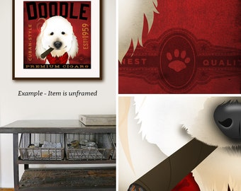 doodle godlendoodle labradoodle  dog Cigar company illustration giclee archival signed artist's print by stephen fowler