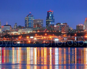 CANVAS Kansas City Skyline at NIGHT KC Panoramic Print Panorama Photo Picture Missouri