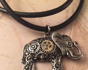 Elephant charm necklace, steampunk elephant, leather cord necklace, elephant charm, lucky necklace, good luck elephant charm