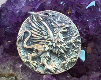 Griffin Charm, Griffin Coin Charm, Coin Charm, Mystical Charm, Mythical Charm, Sterling Silver, PS01202