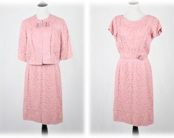 1960s Dusty Pink Lace Sheath Dress and Jacket