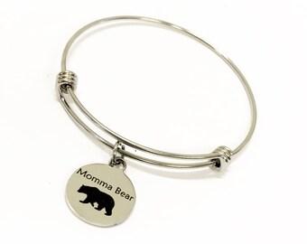 Momma Bear Bracelet, Mama Bear Stacking Bangle Charm Bracelet, Momma Bear Jewelry Gift For Mom, Mama Bear Stacking Bracelets, Stackable