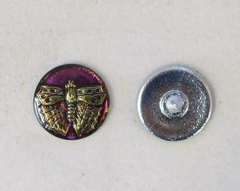 """Czech Glass Butterfly Button - 7/8"""" - 2 for 2.00- #894B"""
