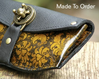 Women's Leather Wallet Purse - Baroque Steampunk on Yellow with Antique Brass Hardware - Made To Order