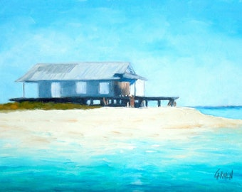 Water House, Oil Painting on Canvas Panel, 5x7 Beach Painting