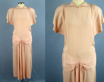 1940s Swing Dress / 40s Pink Crepe Dress / Ruched Crepe Dance Dress