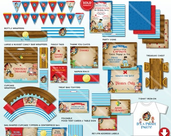 Jake and the Neverland Pirate Birthday Party Decorations, Jake and the Neverland Pirates Party Package, Printable Party Kit