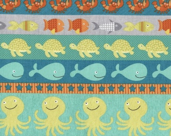 Timeless Treasures - Sea Creature - Border Stripe - Splish Splash