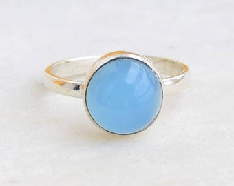 Blue Chalcedony Ring,  Blue Aqua Chalcedony Ring,  Blue Gemstone Ring
