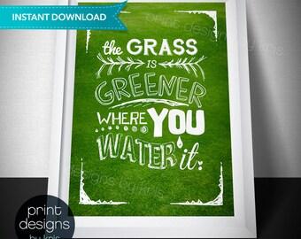 Grass is Greener - Digital Print - Office Art - Wall Art - Graphic Print - Green Wall Decor