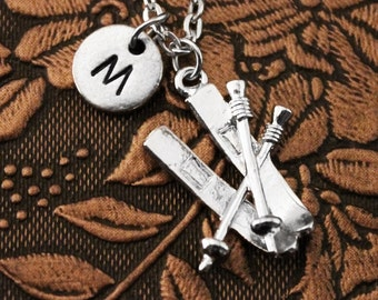 Ski Necklace, Initial Necklace, Skis Necklace, Engraved Necklace, Custom Necklace, Ski Charm Necklace, Monogram Necklace Charm Necklace