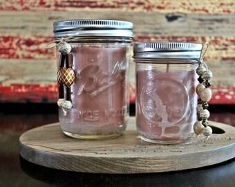 Almond Beeswax & Soy Wax Mason Jar Candles/ Healthy Benefits/ Clean Burning/ All Natural