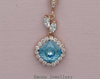 Blue Bridesmaid Necklace, Bridesmaids Gift, Swarovski Aquamarine Necklace, Something Blue, Blue Bridal Jewelry, Wedding Necklace