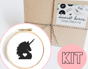 Unicorn Head Silhouette 2-Way Modern Cross Stitch Kit - easy chart design with guide - unicorn magical princess design - embroidery kit