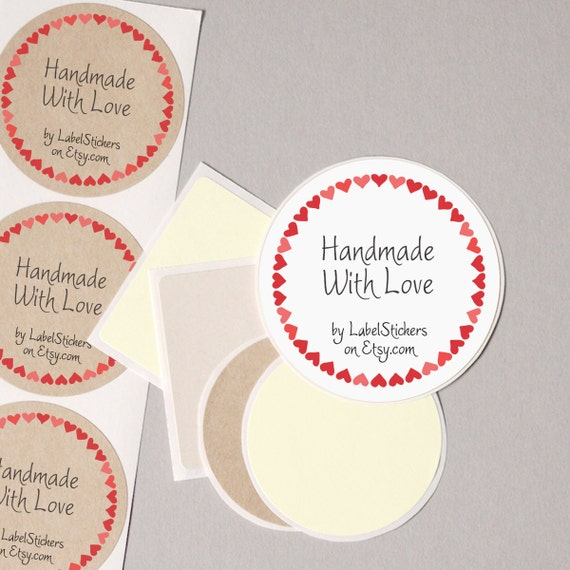 Your shop name handmade with love label stickers etsy supplies red hearts personalized round 12 large 2 5 or 20 medium 2 order wrap seals from