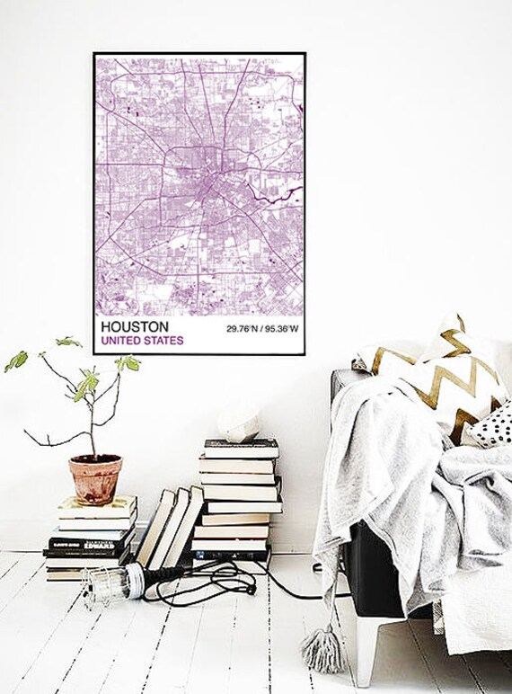Houston City Map Poster Street Map Custom Map Print Map