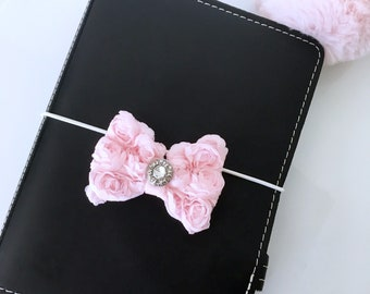 Beautiful pink chiffon rose charm with completely customizable wrap and embellishment for planners.