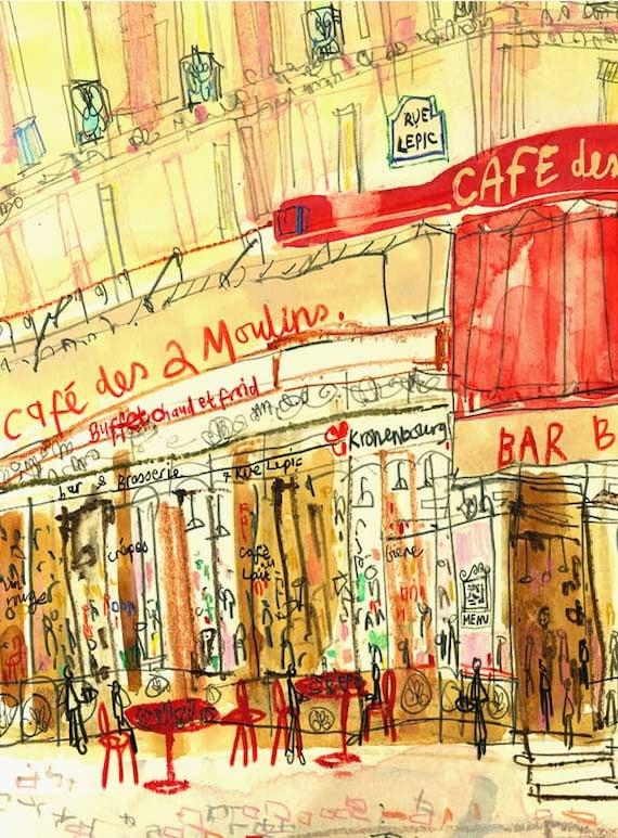 Amélie Café Paris Wall Art FRENCH PRINT 8 x 10 Parisian