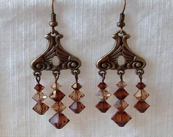 Smoked Topaz Antiqued Brass Chandelier Earrings
