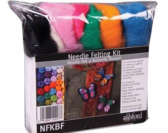 3 BUTTERFLY BROOCHES - Ashford Needle Felting Kit