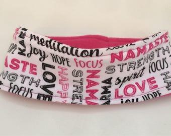 Reversible fleece pink and print ear warmer headband, fleece headband, winter head wear, inspirational headband